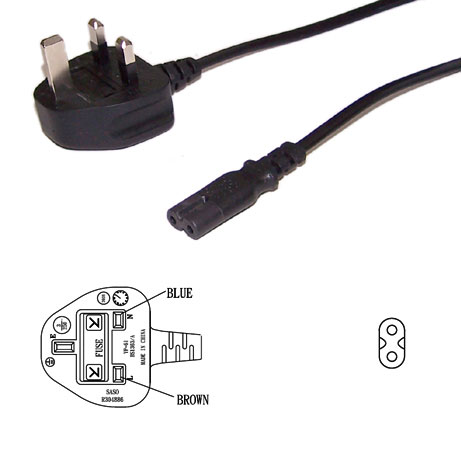 BS1363 (UK) to C7 Power Cord