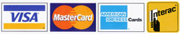 credit card logos, cablek payment methods. cablek accepts visa master card, amex, interac