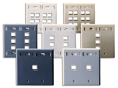 LEVITON QUICK PORT DUAL GANG WALL PLATES WITH DESIGNATION ID WINDOWS